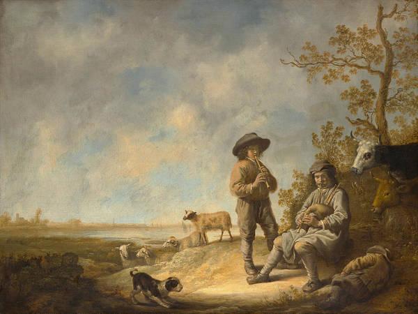 Cuyp Wall Art - Painting - Piping Shepherds by Aelbert Cuyp