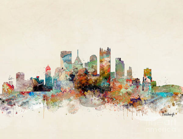 Watercolour Landscape Painting - Pittsburgh Pennsylvania Skyline by Bri Buckley