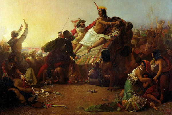Pre-raphaelite Brotherhood Painting - Pizarro Seizing The Inca Of Peru by John Everett Millais