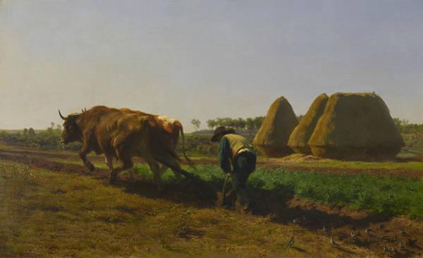 Ploughing Painting - Ploughing Scene  by Rosa Bonheur