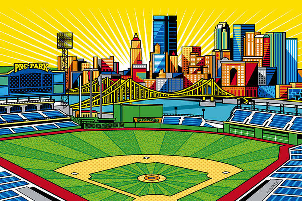 Sport Digital Art - Pnc Park Gold Sky by Ron Magnes