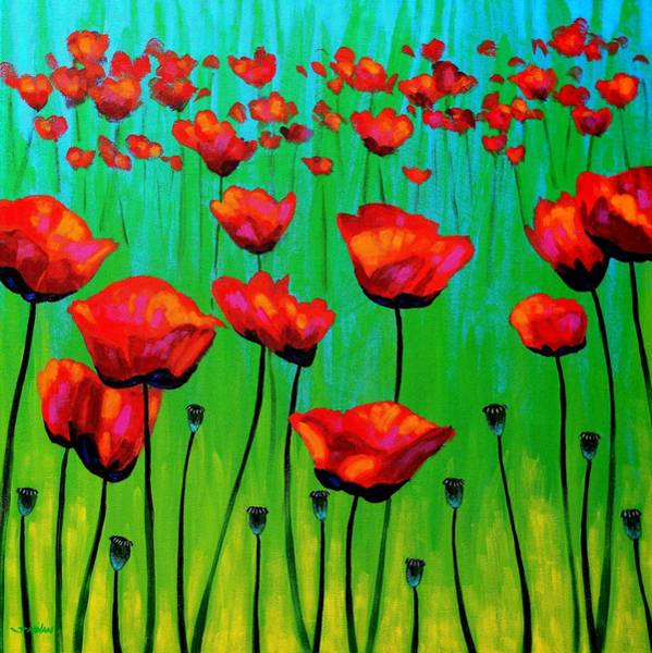 Wall Art - Painting - Poppy Dance by John  Nolan