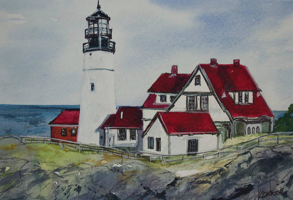 Gulf State Park Painting - Portland Headlight by Kellie Chasse
