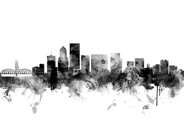 Portland Digital Art - Portland Oregon Skyline by Michael Tompsett