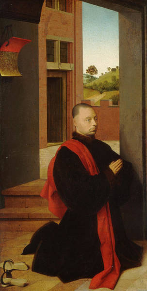 Wall Art - Painting - Portrait Of A Male Donor by Petrus Christus