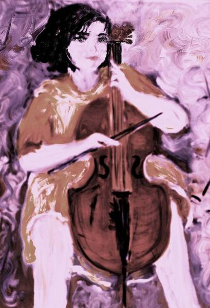Cellist Painting - Prelude by Evelina Popilian