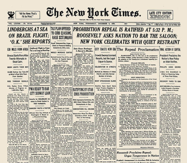 Front Page Photograph - Prohibition Repeal 1933 by Granger