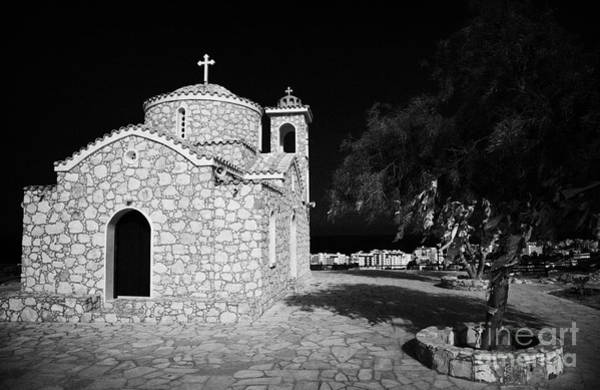Wall Art - Photograph - Prophet Elias Church Profitis Ayios Elias With Prayer Rag Trees Hilltop Protaras Republic Of Cyprus by Joe Fox