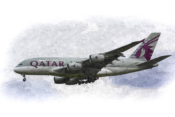 Wall Art - Photograph - Qatar Airlines Airbus Art by David Pyatt