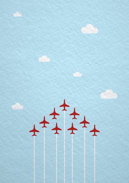 Wall Art - Photograph - Raf Red Arrows In Formation by Samuel Whitton