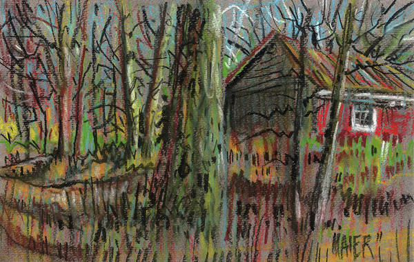 Rural Drawing - Red Barn by Donald Maier