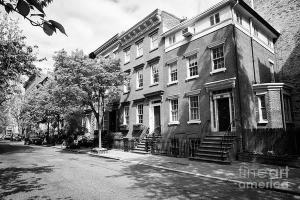 Wall Art - Photograph - red brick townhouses with basement flats greenwich village New York City USA by Joe Fox