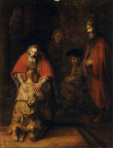 Wall Art - Drawing - Return Of The Prodigal Son by Rembrandt Van Rijn