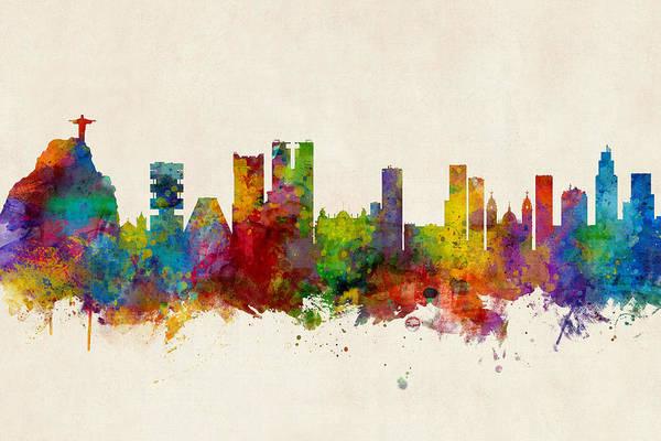Wall Art - Digital Art - Rio De Janeiro Skyline Brazil by Michael Tompsett