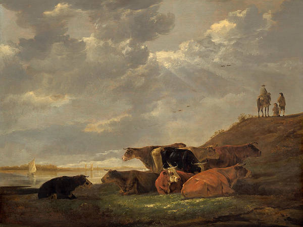 Cuyp Wall Art - Painting - River Landscape With Cows by Aelbert Cuyp