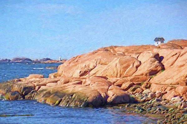 Painting - Rocky Coast Sweden by Lutz Baar