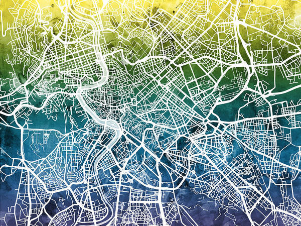 Roma Wall Art - Digital Art - Rome Italy City Street Map by Michael Tompsett