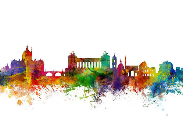Wall Art - Digital Art - Rome Italy Skyline by Michael Tompsett