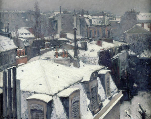 Wall Art - Painting - Rooftops In The Snow, Snow Effect by Gustave Caillebotte
