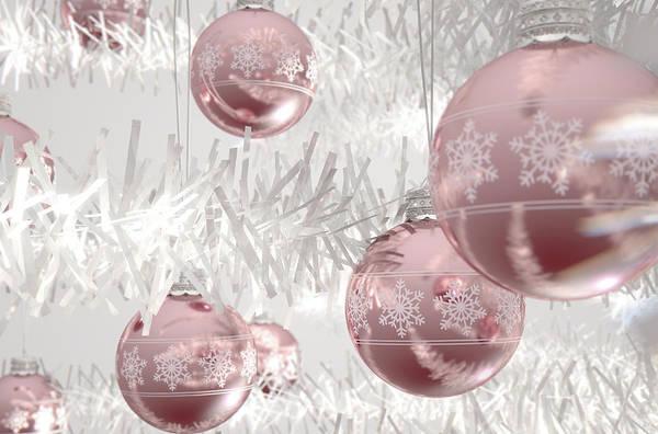 Bauble Digital Art - Rose Gold Christmas Baubels by Allan Swart