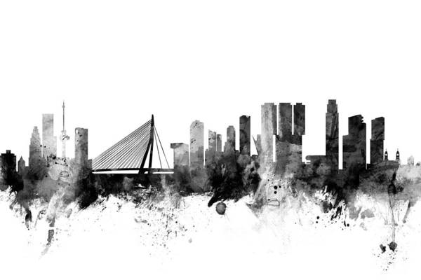 Wall Art - Digital Art - Rotterdam The Netherlands Skyline by Michael Tompsett