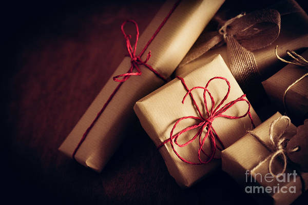 Light Box Photograph - Rustic Retro Gifts, Present Boxes. Christmas Time, Eco Paper Wrap. by Michal Bednarek