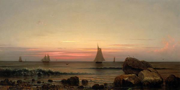 Painting - Sailing Off The Coast by Martin Johnson Heade