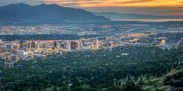 Photograph - Salt Lake City At Dusk by James Udall
