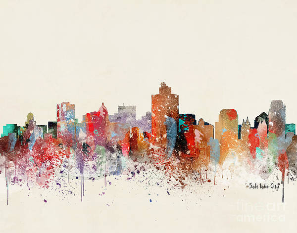 Wall Art - Painting - Salt Lake City Skyline by Bri Buckley