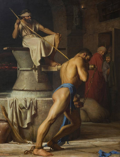 Burden Wall Art - Painting - Samson And The Philistines by Carl Bloch