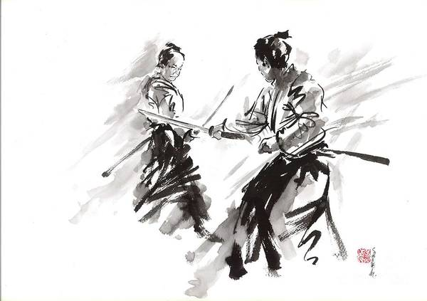Wall Art - Painting - Samurai Fight by Mariusz Szmerdt