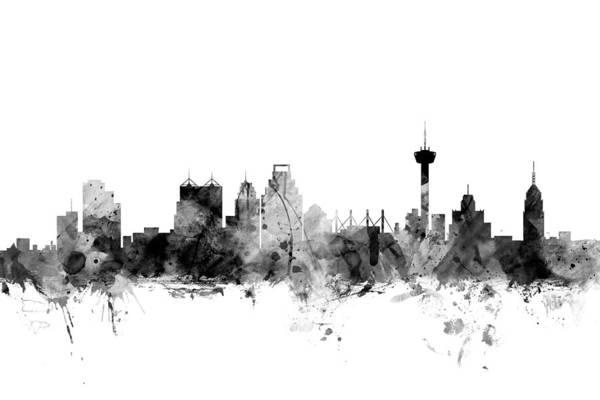 Wall Art - Digital Art - San Antonio Texas Skyline by Michael Tompsett