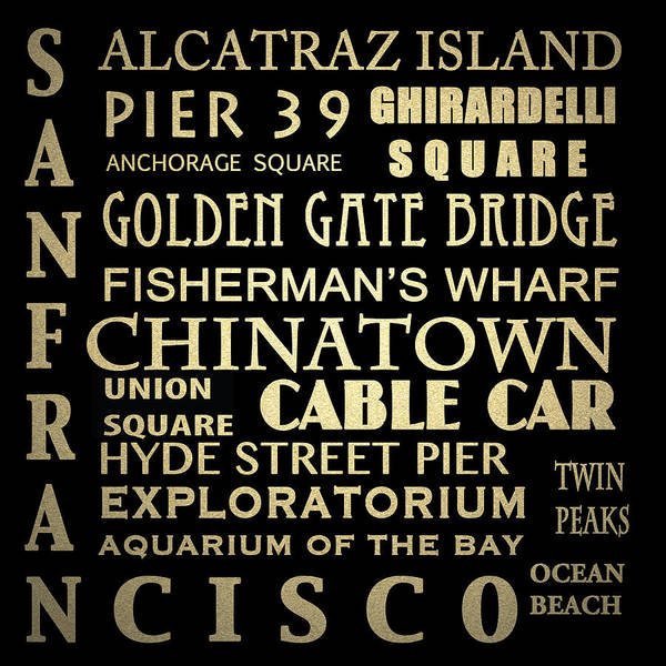 Cable Digital Art - San Francisco Famous Landmarks by Patricia Lintner