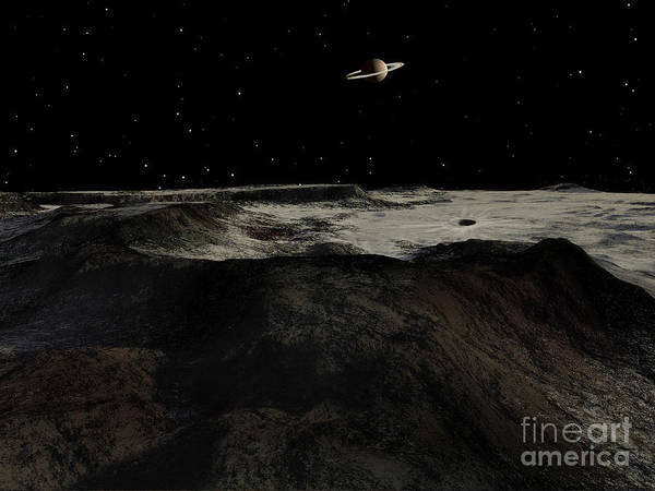 Cosmology Digital Art - Saturn Seen From The Surface by Ron Miller