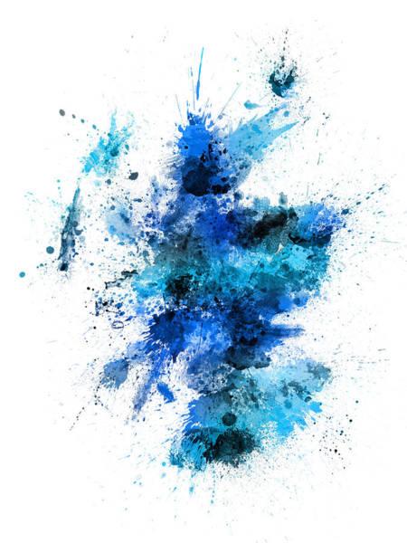 Scottish Wall Art - Digital Art - Scotland Paint Splashes Map by Michael Tompsett