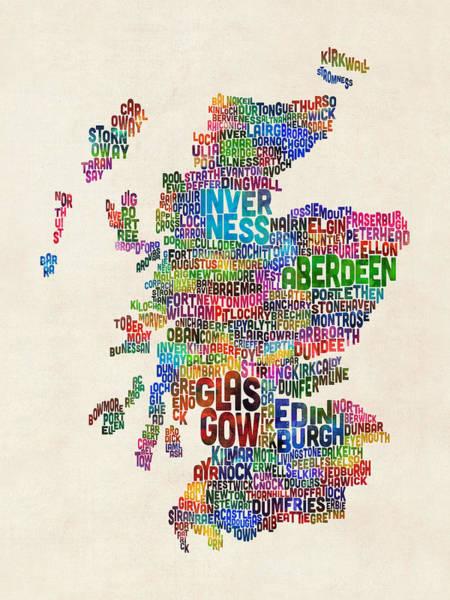 Scottish Wall Art - Digital Art - Scotland Typography Text Map by Michael Tompsett