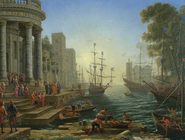 Pilgrimage Painting - Seaport With The Embarkation Of Saint Ursula by Claude