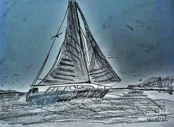 West Bay Digital Art - Seascape Sailing by Scott D Van Osdol