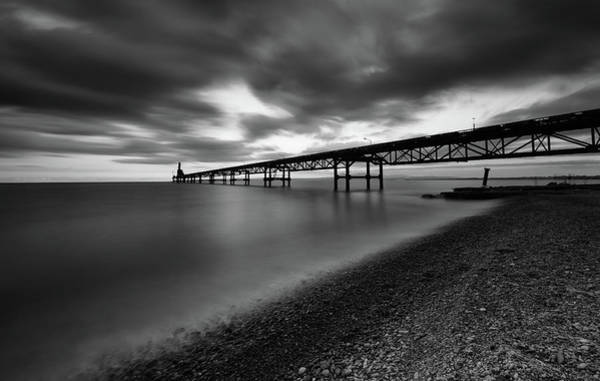 Wall Art - Photograph - Seascape With Jetty During A Dramatic Cloudy Sunset by Michalakis Ppalis