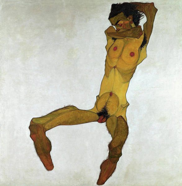 Selfportrait Painting - Seated Male Nude by Egon Schiele