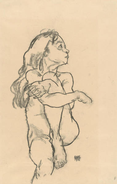Austrian Drawing - Seated Nude Girl Clasping Her Left Knee by Egon Schiele
