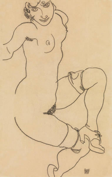 Drawing - Seated Nude In Shoes And Stockings by Egon Schiele
