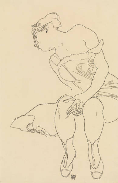 Austrian Drawing - Seated Woman In Corset And Boots by Egon Schiele