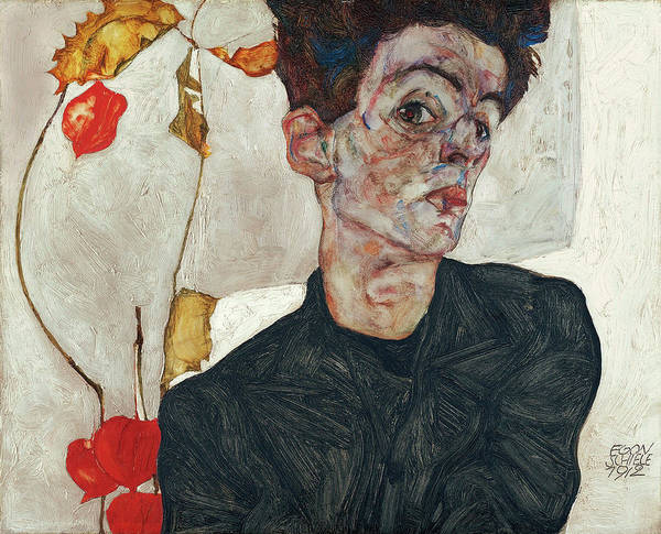 Selfportrait Painting - Self-portrait With Chinese Lantern Plant by Egon Schiele