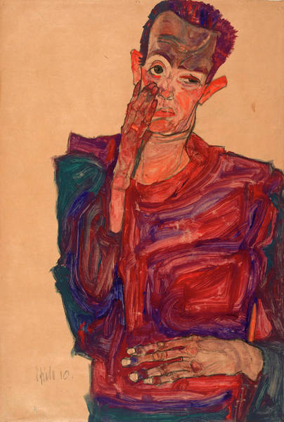 Selfportrait Painting - Self-portrait With Eyelid Pulled Down, 1910 by Egon Schiele