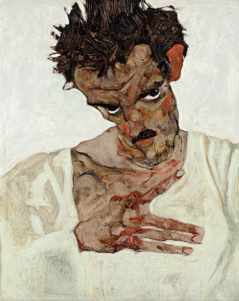 Selfportrait Painting - Self-portrait With Lowered Head by Egon Schiele