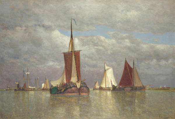 Ocean Scape Painting - Ships Lying Near Dordrecht by Paul Jean Clays