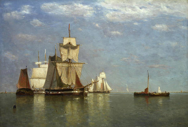 Ocean Scape Painting - Ships Lying Off Flushing by Paul Jean Clays