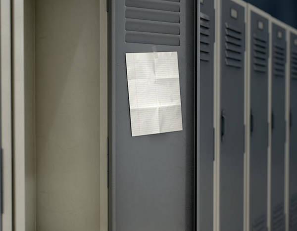 Wall Art - Digital Art - Shool Locker With Blank Note by Allan Swart