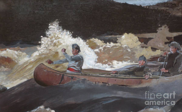 Wall Art - Painting - Shooting The Rapids, Saguenay River by Winslow Homer